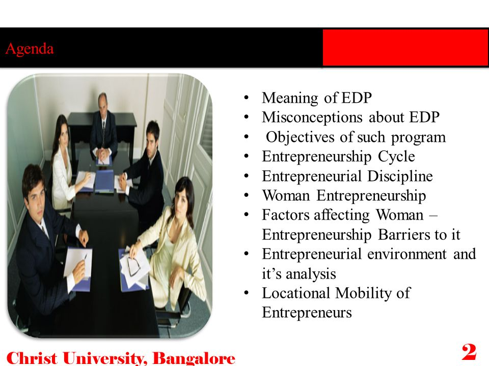 Agenda Meaning of EDP Misconceptions about EDP Objectives of such program Entrepreneurship Cycle Entrepreneurial Discipline Woman Entrepreneurship Fac