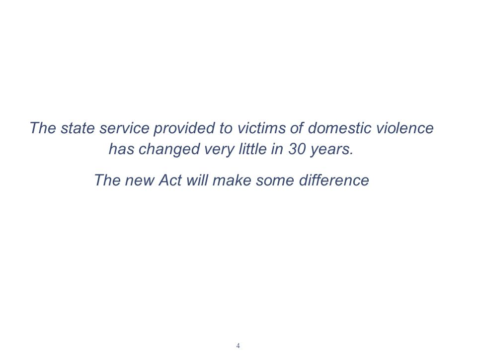 4 The state service provided to victims of domestic violence has changed very little in 30 years.
