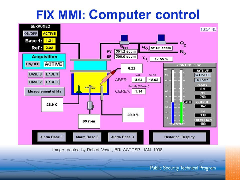 FIX MMI: Computer control Image created by Robert Voyer, BRI-ACTDSP, JAN. 1998