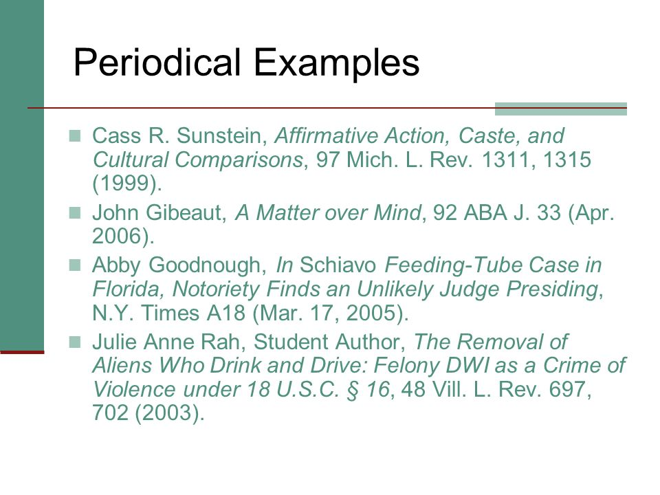 Periodicals: Rule 23 No real distinction between consecutively and nonconsecutively paginated journals. (See Appendix 5.) All student pieces = Student