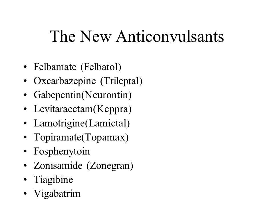 The New Anticonvulsants Felbamate (Felbatol) Oxcarbazepine (Trileptal) Gabepentin(Neurontin) Levitaracetam(Keppra) Lamotrigine(Lamictal) Topiramate(To