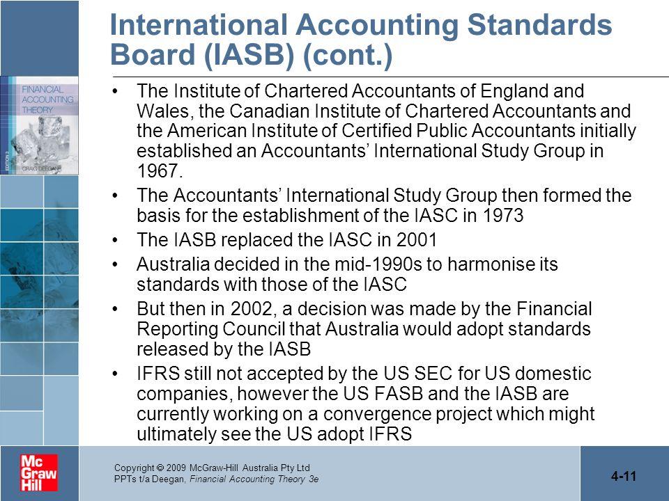 4-11 Copyright 2009 McGraw-Hill Australia Pty Ltd PPTs t/a Deegan, Financial Accounting Theory 3e International Accounting Standards Board (IASB) (con