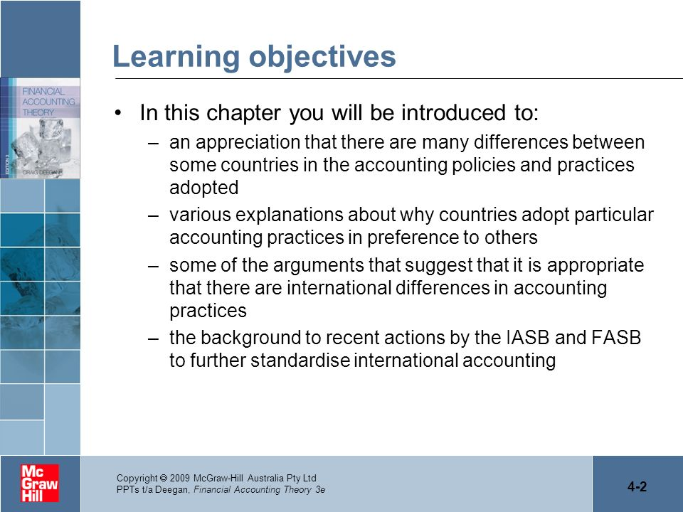 4-2 Copyright 2009 McGraw-Hill Australia Pty Ltd PPTs t/a Deegan, Financial Accounting Theory 3e Learning objectives In this chapter you will be intro