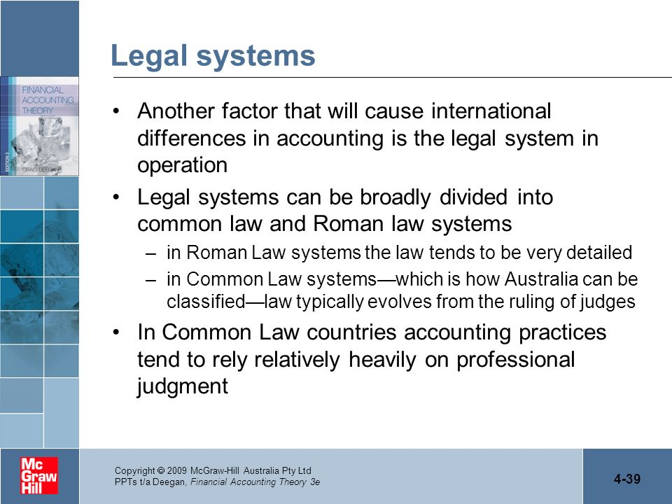 4-39 Copyright 2009 McGraw-Hill Australia Pty Ltd PPTs t/a Deegan, Financial Accounting Theory 3e Legal systems Another factor that will cause interna