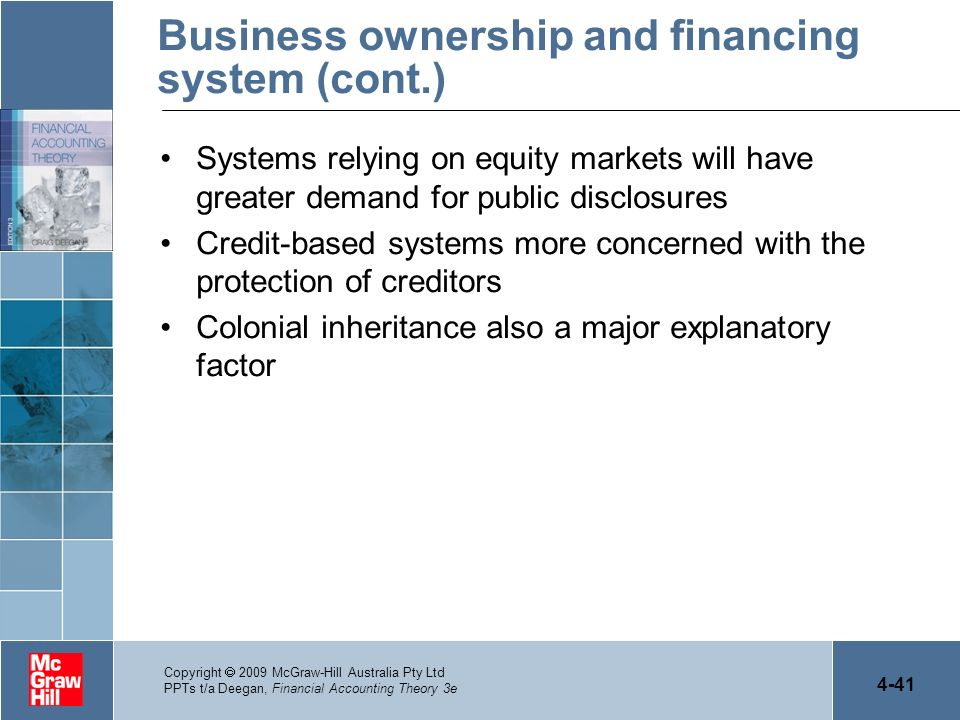 4-41 Copyright 2009 McGraw-Hill Australia Pty Ltd PPTs t/a Deegan, Financial Accounting Theory 3e Business ownership and financing system (cont.) Syst