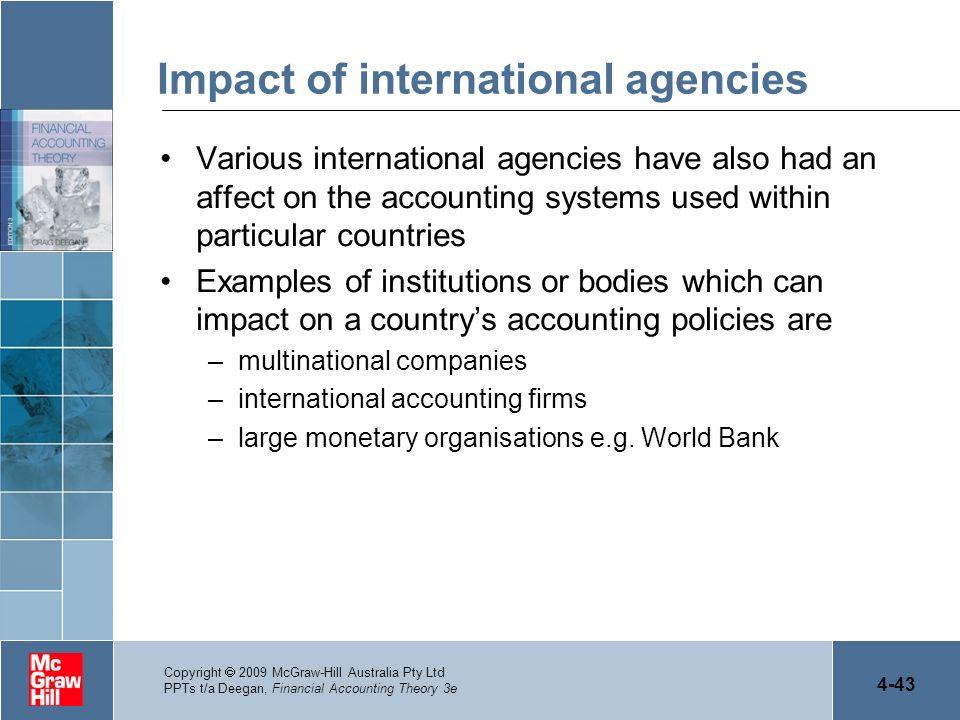 4-43 Copyright 2009 McGraw-Hill Australia Pty Ltd PPTs t/a Deegan, Financial Accounting Theory 3e Impact of international agencies Various internation