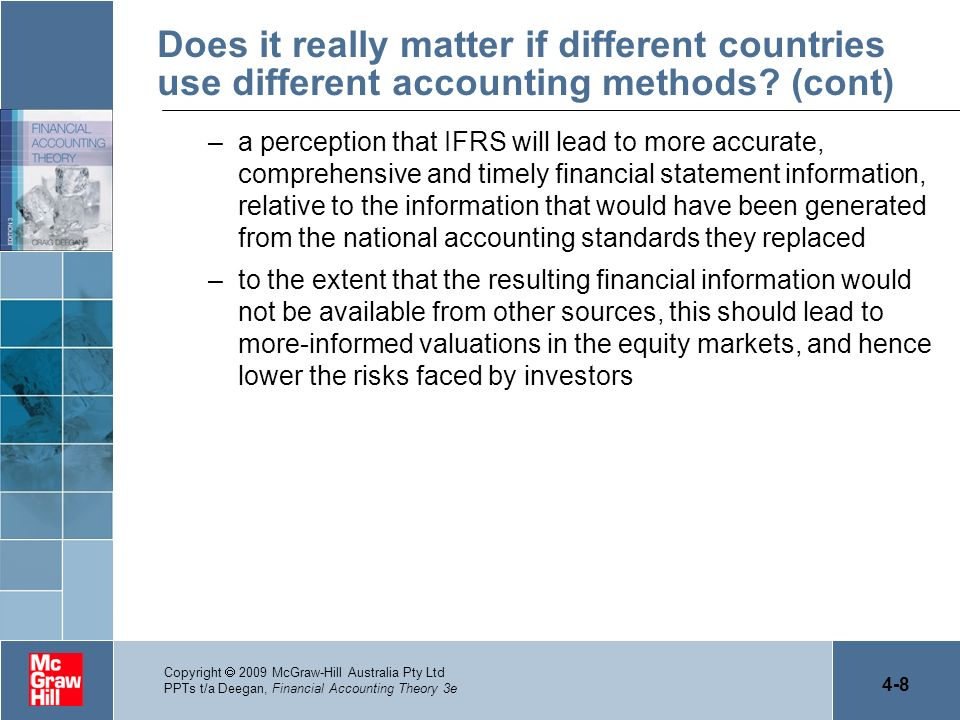 4-8 Copyright 2009 McGraw-Hill Australia Pty Ltd PPTs t/a Deegan, Financial Accounting Theory 3e Does it really matter if different countries use diff