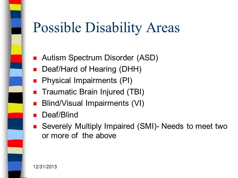 12/31/2013 Possible Disability Areas n Autism Spectrum Disorder (ASD) n Deaf/Hard of Hearing (DHH) n Physical Impairments (PI) n Traumatic Brain Injur