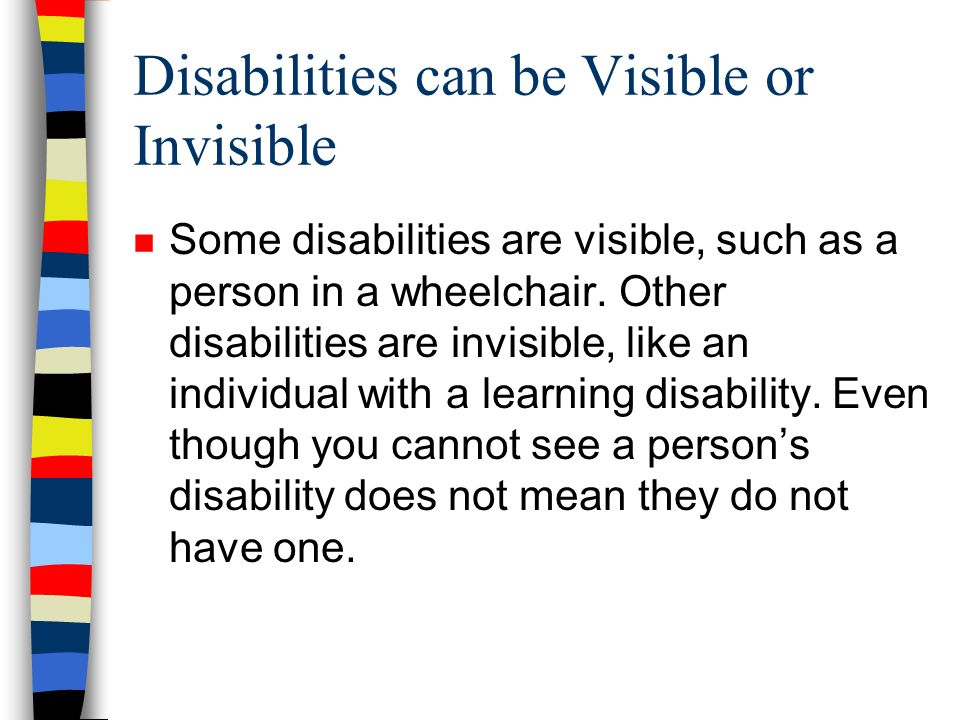 12/31/2013 Round Table Discussion n Find a partner n Have each person identify someone they know (without using names) out of the 750 million people that have a disability.