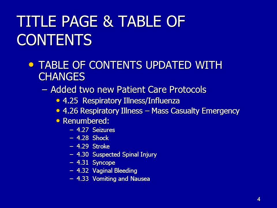 SECTION 4 TREATMENT PROTOCOLS 5