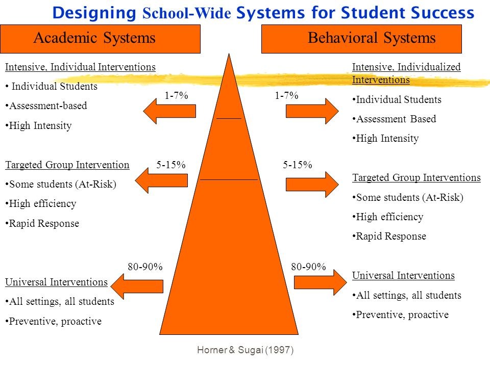 Horner & Sugai (1997) Designing School-Wide Systems for Student Success Academic SystemsBehavioral Systems Intensive, Individual Interventions Individ