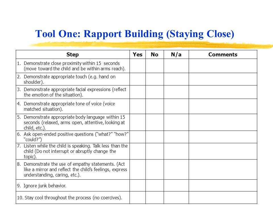 Tool One: Rapport Building (Staying Close) StepYesNoN/aComments 1.Demonstrate close proximity within 15 seconds (move toward the child and be within a