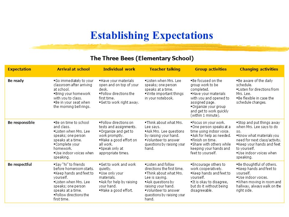 Establishing Expectations ExpectationArrival at schoolIndividual workTeacher talkingGroup activitiesChanging activities Be ready Go immediately to you