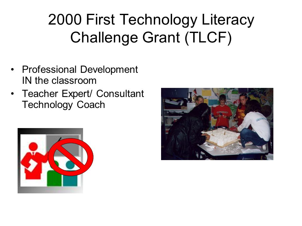2000 First Technology Literacy Challenge Grant (TLCF) Professional Development IN the classroom Teacher Expert/ Consultant Technology Coach