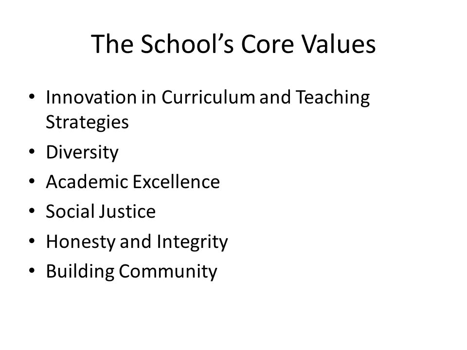 The Schools Core Values Innovation in Curriculum and Teaching Strategies Diversity Academic Excellence Social Justice Honesty and Integrity Building Community