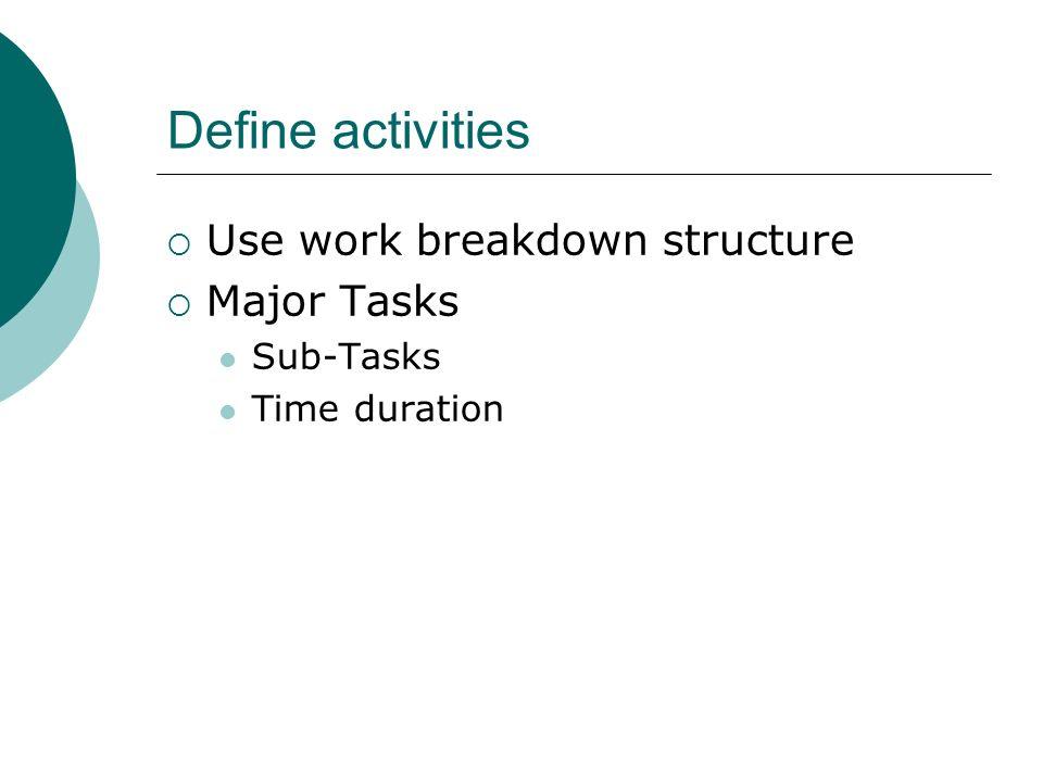 Define activities Use work breakdown structure Major Tasks Sub-Tasks Time duration