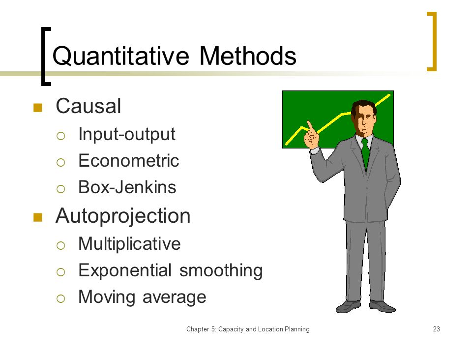 Chapter 5: Capacity and Location Planning23 Quantitative Methods Causal Input-output Econometric Box-Jenkins Autoprojection Multiplicative Exponential