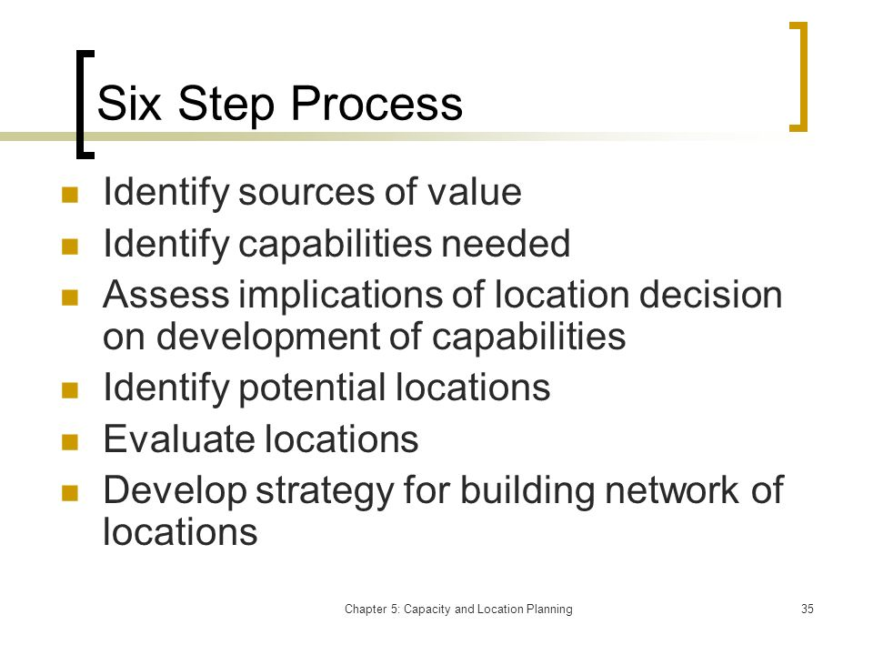 Chapter 5: Capacity and Location Planning35 Six Step Process Identify sources of value Identify capabilities needed Assess implications of location de