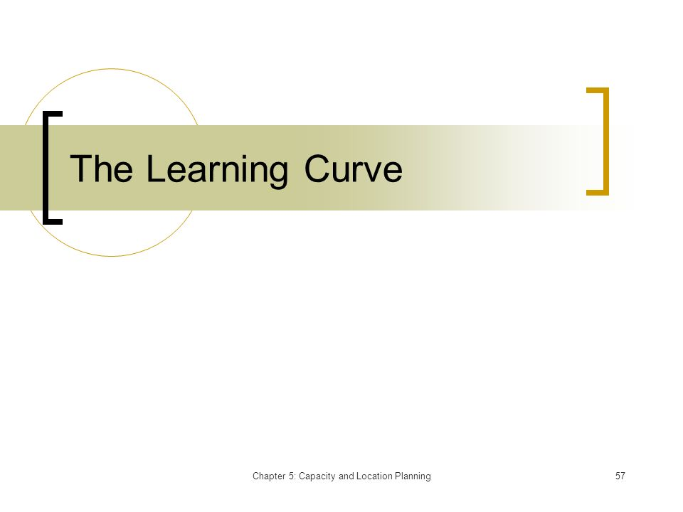 Chapter 5: Capacity and Location Planning57 The Learning Curve