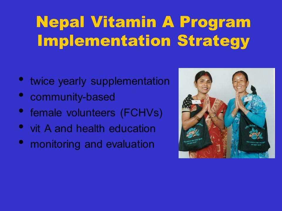 Nepal Vitamin A Program Implementation Strategy twice yearly supplementation community-based female volunteers (FCHVs) vit A and health education moni