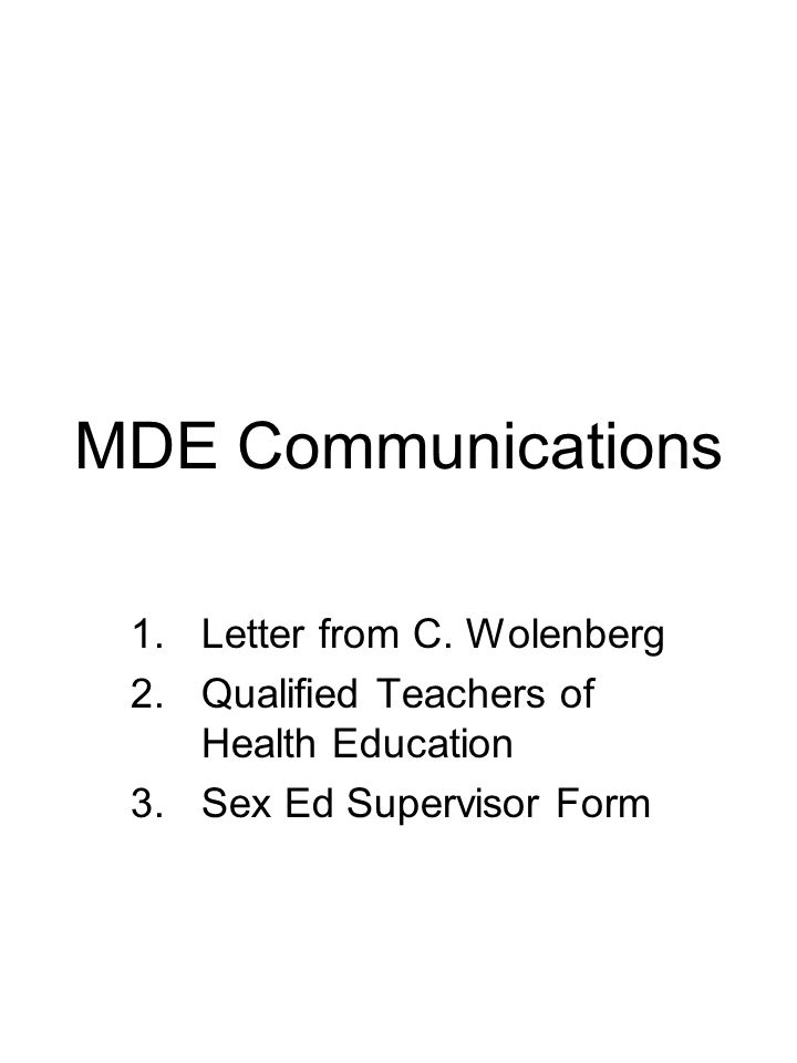 MDE Communications 1.Letter from C.
