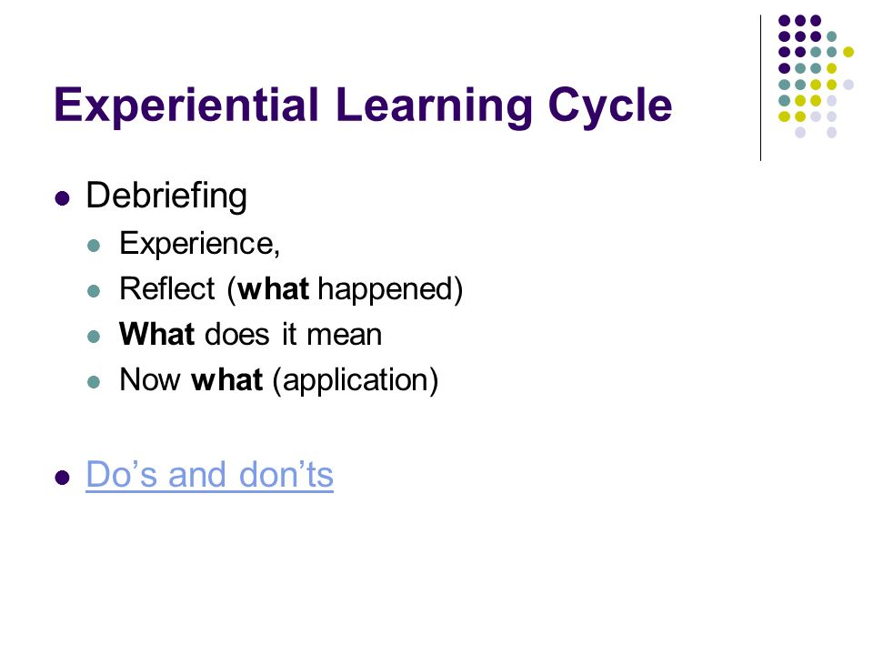 Experiential Learning Cycle Debriefing Experience, Reflect (what happened) What does it mean Now what (application) Dos and donts