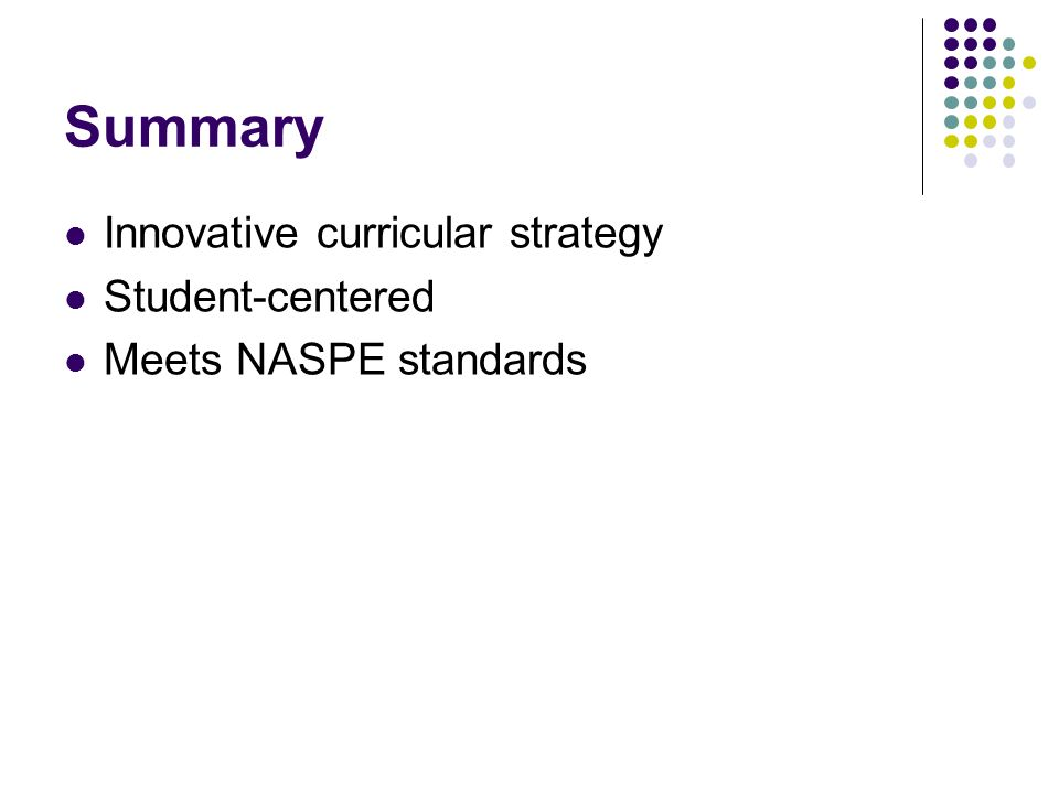 Summary Innovative curricular strategy Student-centered Meets NASPE standards