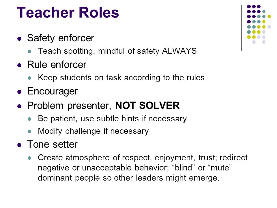 Teacher Roles Safety enforcer Teach spotting, mindful of safety ALWAYS Rule enforcer Keep students on task according to the rules Encourager Problem p