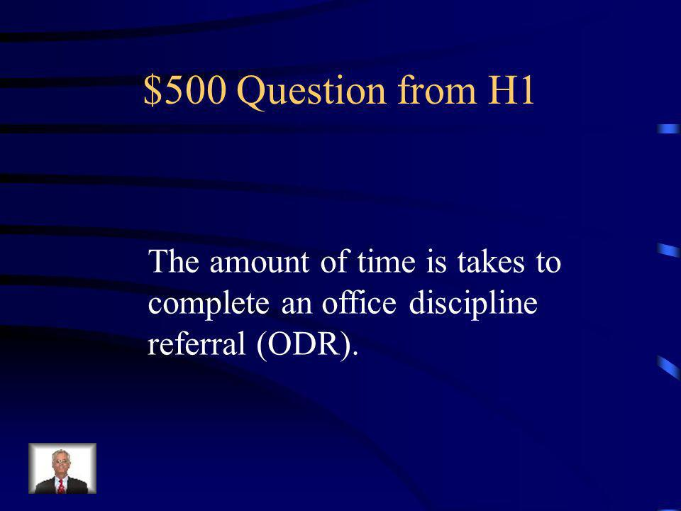 $400 Answer from H1 What is ONE?