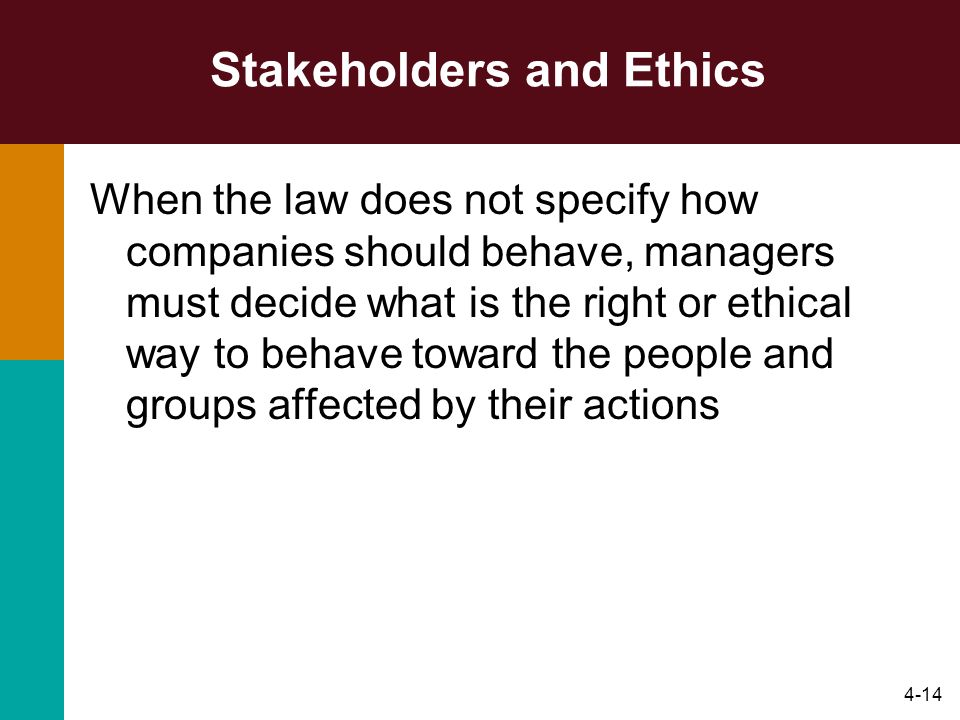 4-14 Stakeholders and Ethics When the law does not specify how companies should behave, managers must decide what is the right or ethical way to behav