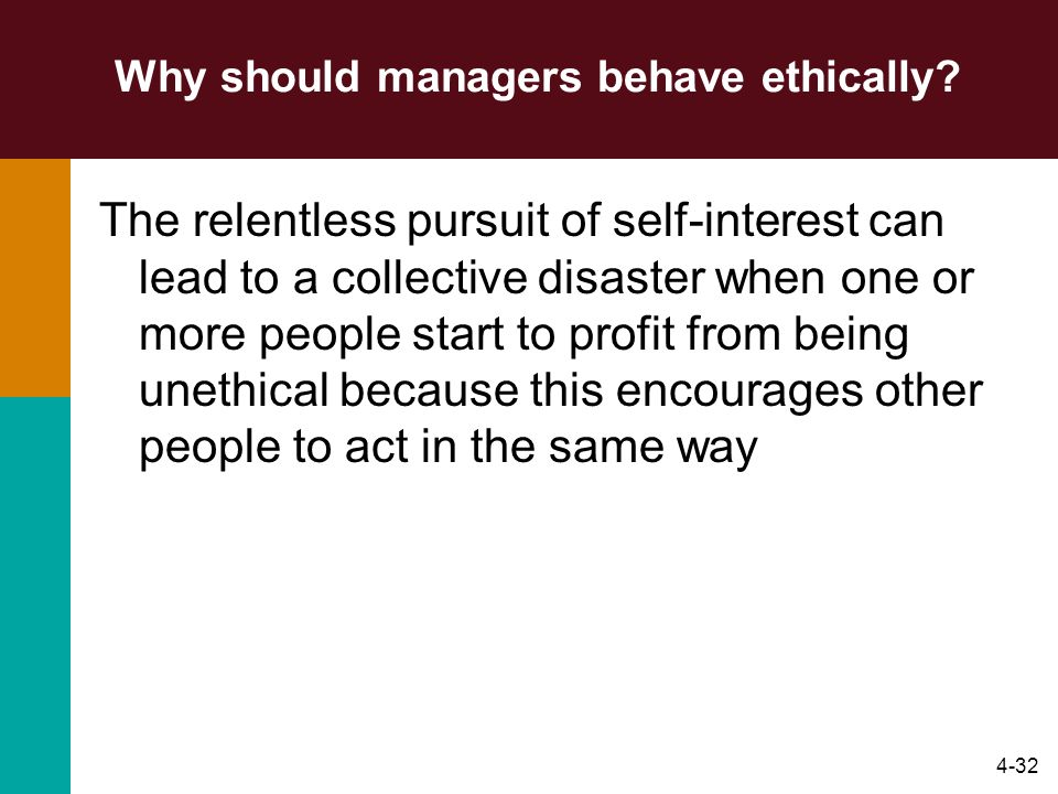 4-32 Why should managers behave ethically? The relentless pursuit of self-interest can lead to a collective disaster when one or more people start to