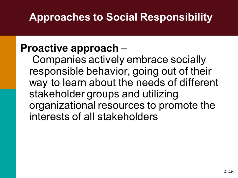 4-45 Approaches to Social Responsibility Proactive approach – Companies actively embrace socially responsible behavior, going out of their way to lear
