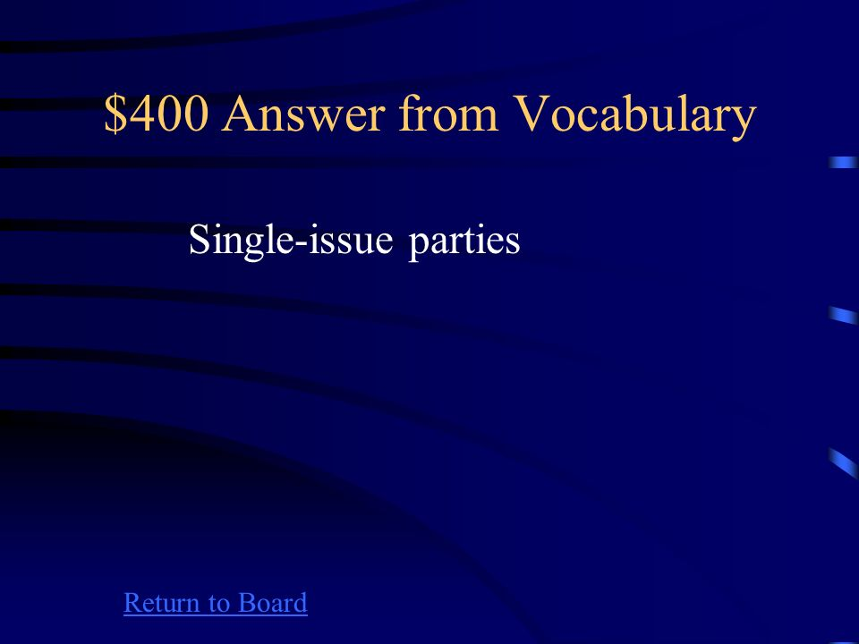 $400 Question from Vocabulary Return to Board Seek to cause a change on one public policy matter