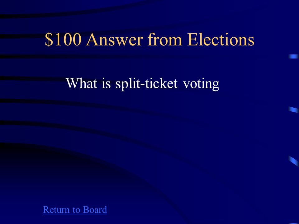 $100 Question from Elections Return to Board Casting ballots for candidates from different parties for different offices in the same election