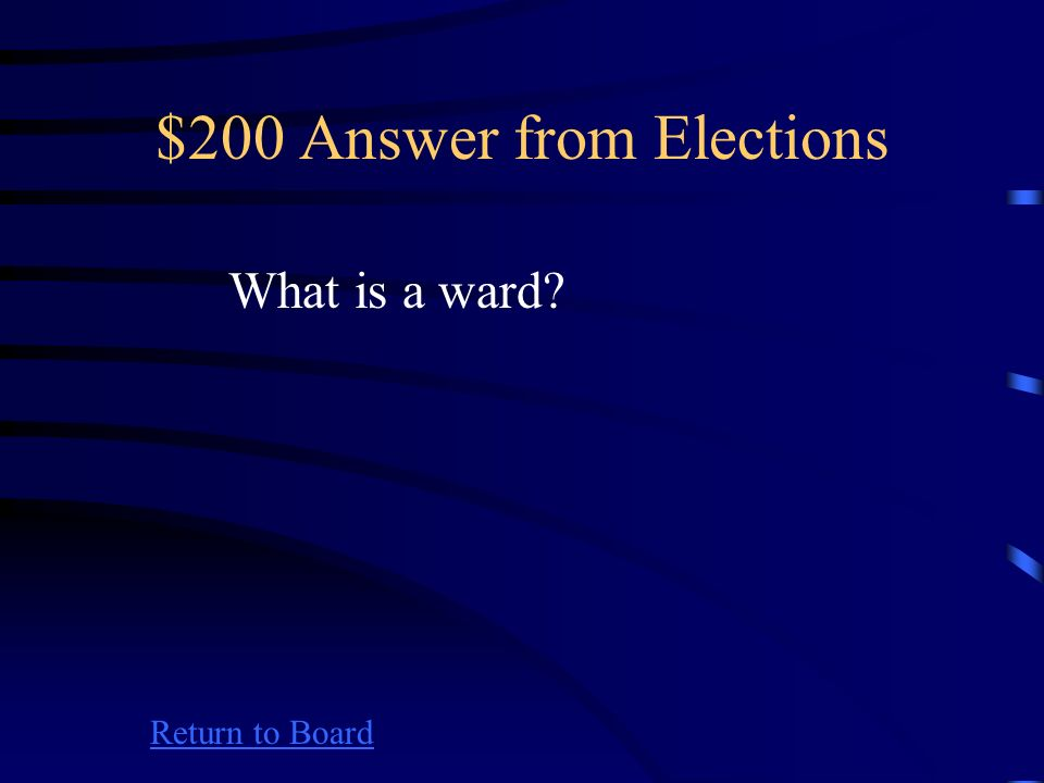 $200 Question from Elections Return to Board A unit into which cities are divided for the election of city council members