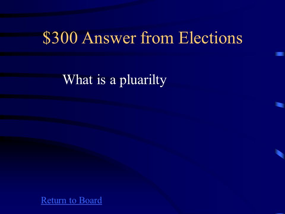 $300 Question from Elections Return to Board The greatest number of votes cast for a single office