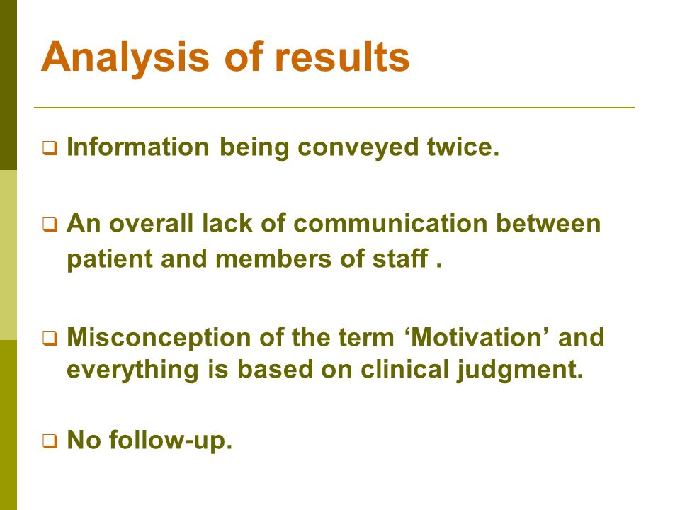 Analysis of results Information being conveyed twice. An overall lack of communication between patient and members of staff. Misconception of the term