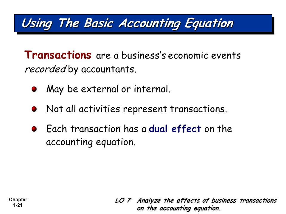 Chapter 1-21 Using The Basic Accounting Equation Transactions are a businesss economic events recorded by accountants. May be external or internal. No