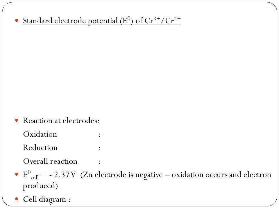 Standard electrode potential (E ) of Cr 3+ /Cr 2+ Reaction at electrodes: Oxidation : Reduction : Overall reaction: E cell = - 2.37 V (Zn electrode is