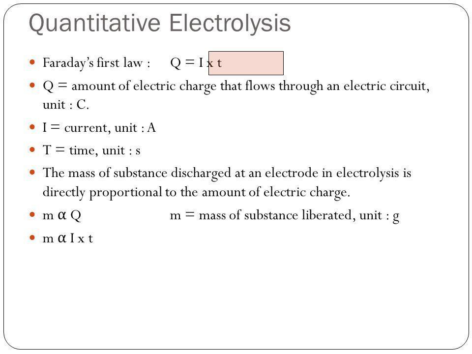 Quantitative Electrolysis Faradays first law :Q = I x t Q = amount of electric charge that flows through an electric circuit, unit : C. I = current, u