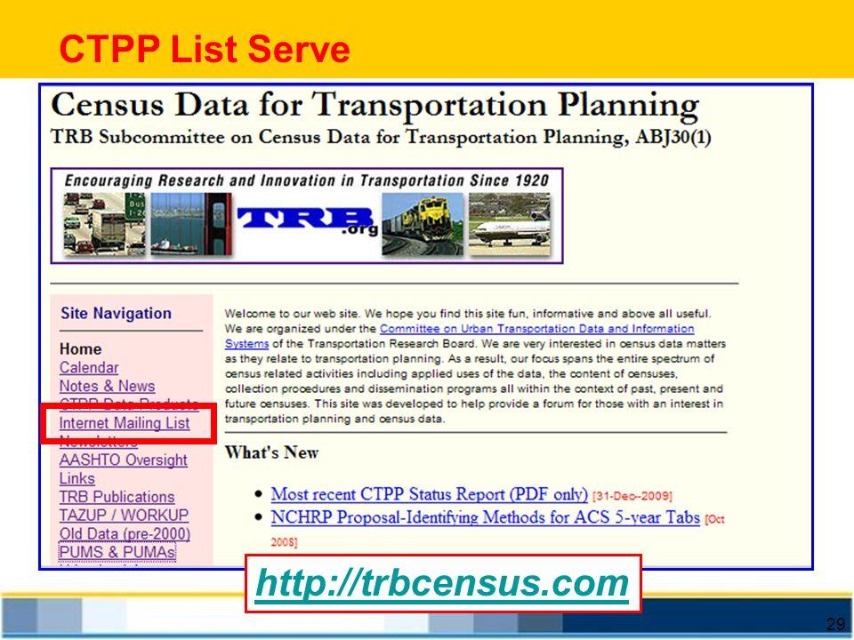 29 CTPP List Serve http://trbcensus.com