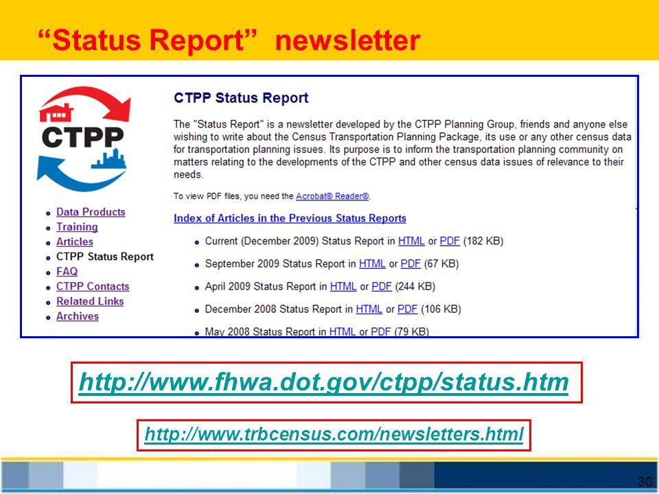 30 Status Report newsletter http://www.fhwa.dot.gov/ctpp/status.htm http://www.trbcensus.com/newsletters.html