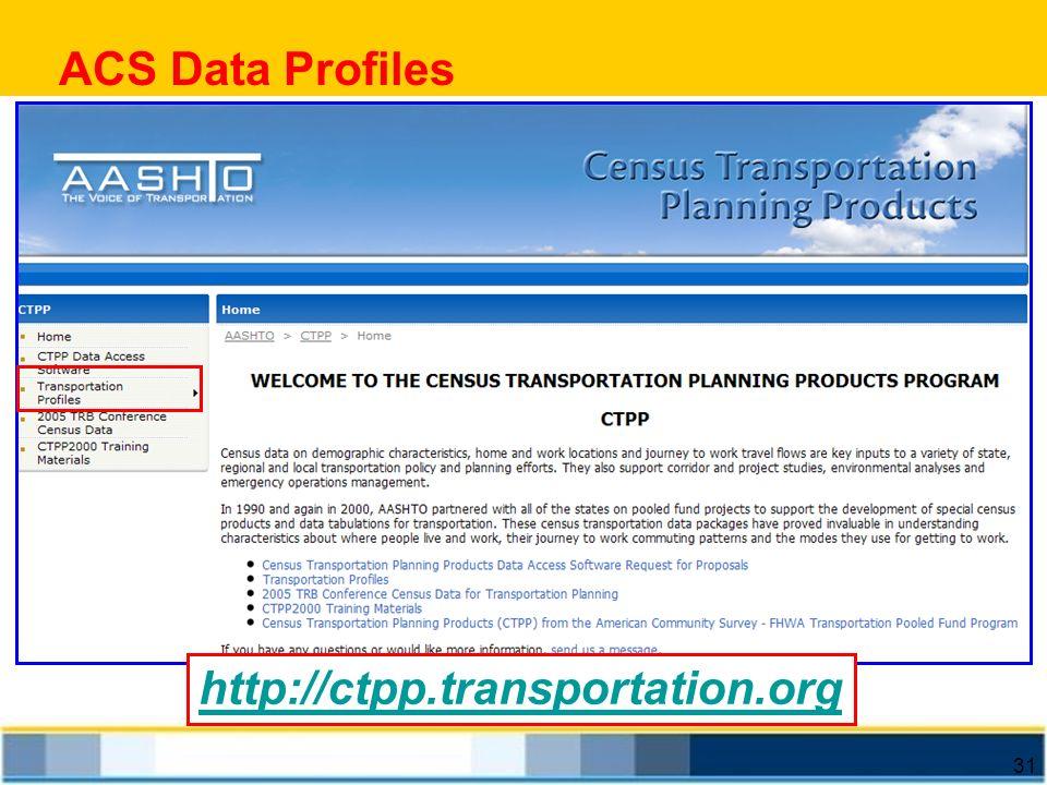 31 ACS Data Profiles http://ctpp.transportation.org