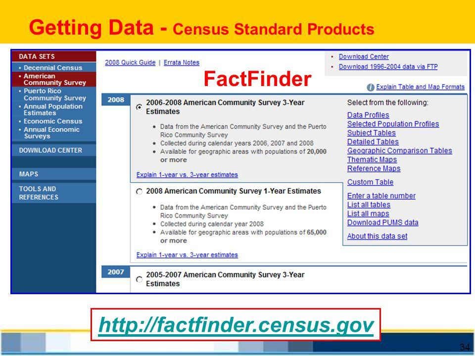 34 Getting Data - Census Standard Products http://factfinder.census.gov FactFinder