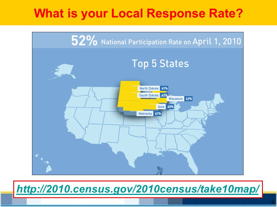 4 http://2010.census.gov/2010census/take10map/ What is your Local Response Rate?