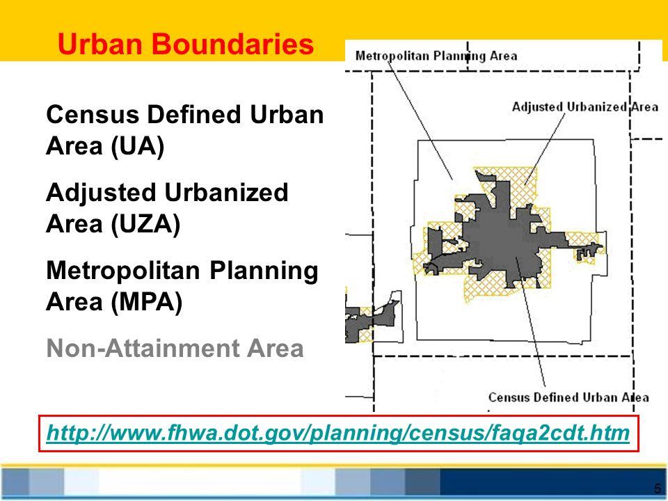 5 Urban Boundaries http://www.fhwa.dot.gov/planning/census/faqa2cdt.htm Census Defined Urban Area (UA) Adjusted Urbanized Area (UZA) Metropolitan Plan