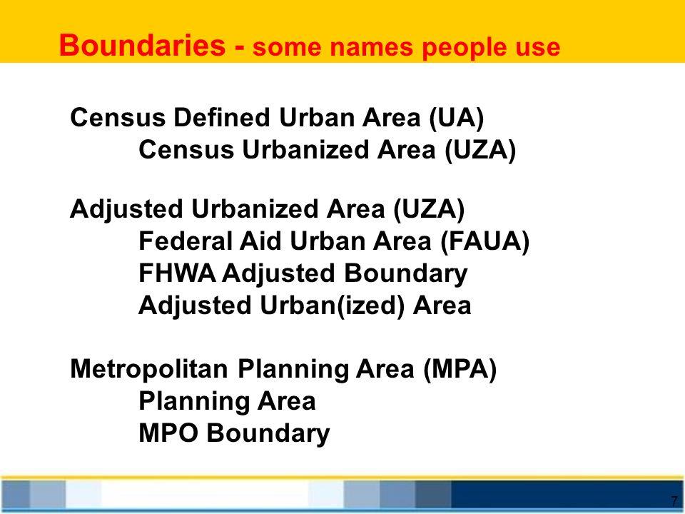 7 Boundaries - some names people use Census Defined Urban Area (UA) Census Urbanized Area (UZA) Adjusted Urbanized Area (UZA) Federal Aid Urban Area (