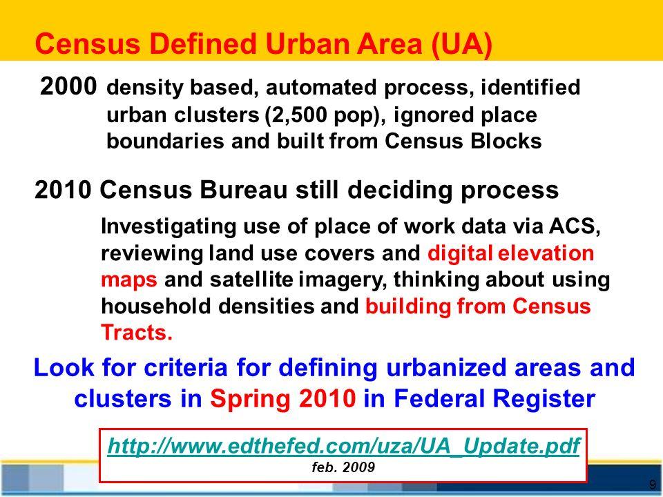 9 Census Defined Urban Area (UA) http://www.edthefed.com/uza/UA_Update.pdf feb. 2009 2000 density based, automated process, identified urban clusters