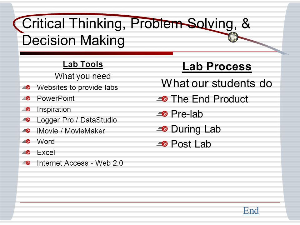 Critical Thinking, Problem Solving, & Decision Making Lab Tools What you need Websites to provide labs PowerPoint Inspiration Logger Pro / DataStudio