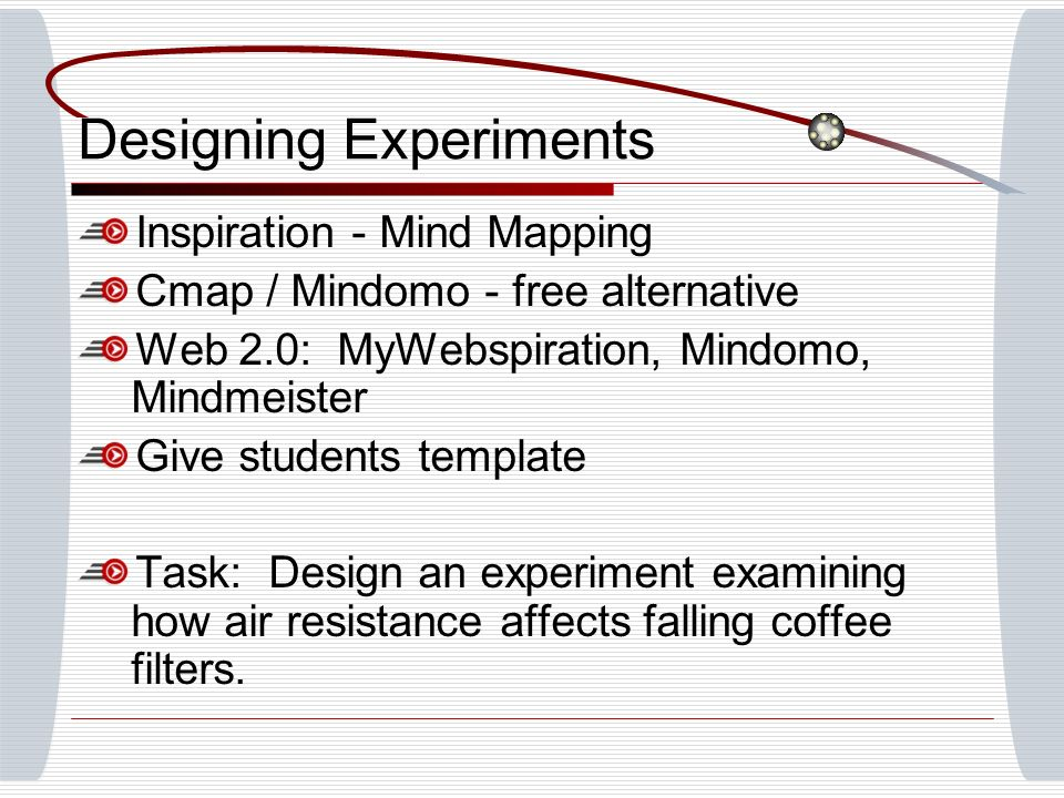 Designing Experiments Inspiration - Mind Mapping Cmap / Mindomo - free alternative Web 2.0: MyWebspiration, Mindomo, Mindmeister Give students templat